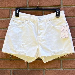 NWT Free People White Out Distressed Shorts